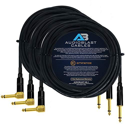 AUDIOBLAST-3UNITS-20 일 발 HQ-1-매우 가동 가능한 이중 차폐(100%)-기타 악기 페달 효과 패치 케이블 | W 예 직&각 금¼인치(6.35MM)TS 플러그 및 더블 부츠