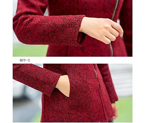 Red Collar Fashion RkBaoye Long Fit Womens Coat Down Wrap Turn Sleeve Premium R6RaPZwq
