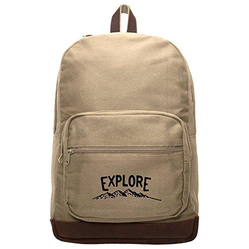Explore Canvas Teardrop Backpack w/ Leather Bottom & Straps Khaki & Black