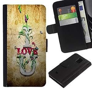 KLONGSHOP / Tirón de la caja Cartera de cuero con ranuras para tarjetas - I Love U Quote Slogan Romance Relationship - Samsung Galaxy S5 Mini, SM-G800, NOT S5 REGULAR!