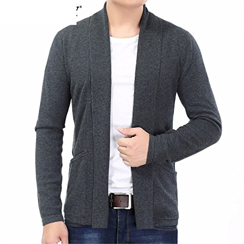 Also Easy Cardigan Winter Thick Warm Cashmere Wool Sweater Men Fashion Long Mens Cardigans Sweater Coats 7320 Gray L by Also Easy Sweater