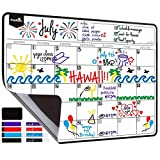 Magnetic Dry Erase Calendar for Fridge - YiGooood Monthly Wall Calendar White Poster Board Planner for Your Refrigerator or Office, Includes 4 Colored Markers and Eraser with Magnets 16.5'' x 12.7''