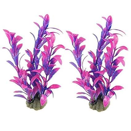 eDealMax 2-pieza de plástico acuario óvalo hojas de plantas, DE 5,7