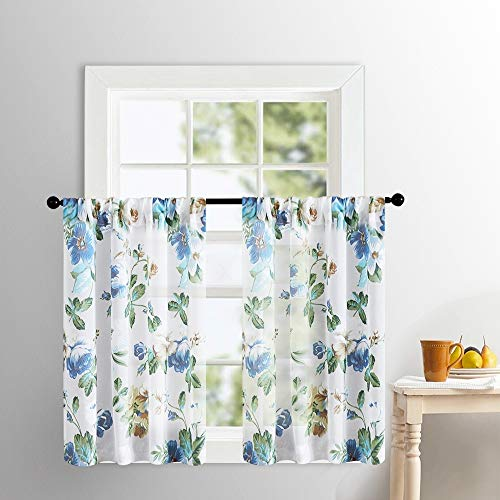 Tier Curtains 36 inches Long Kitchen Sheer Tiers Cotton Blend Blue Floral Leaves Printed Voile Cafe Curtains Bathroom Flower Print Sheer Half Window Treatment Short Curtains Rod Pocket 2 Panels