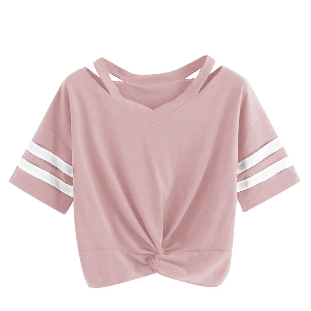 Womens Tie Front Crop Tops,Women's Loose Short Sleeve Summer Crop T-Shirt Tie Front Tops Blouse Pink