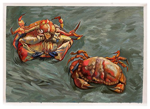 Two Crabs - Vincent van Gogh high quality hand-painted oil painting reproduction,seafood painting,seashore animal fine art,dinning room wall decor canvas ()