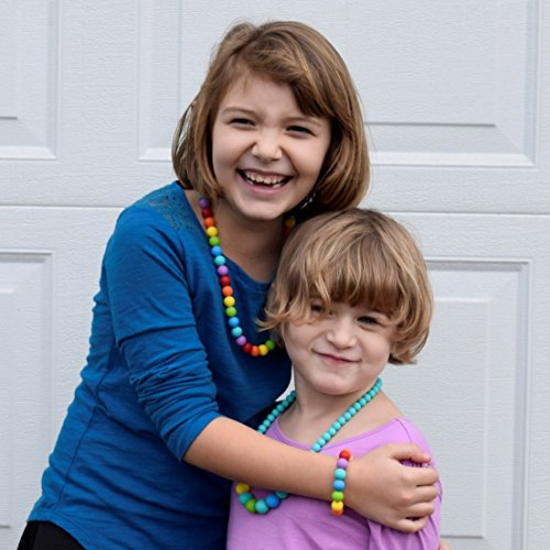 Sensory Oral Motor Aide Chewelry Necklace - Chewy Jewelry for Sensory-Focused Kids with Autism or Special Needs - Calms Kids and Reduces Biting/Chewing - Rainbow Necklace (No Knots) by Munchables Chewelry (Image #1)