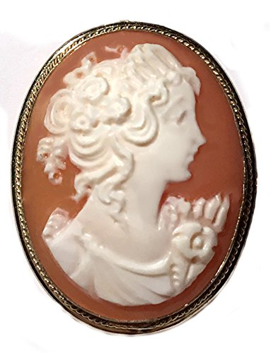 Silver Sterling Brooch Bezel (Princess, Cameo, Brooch and Pendant, Master Carved, Carnelian Shell Sterling Silver 18k Gold Overlay, Italian)