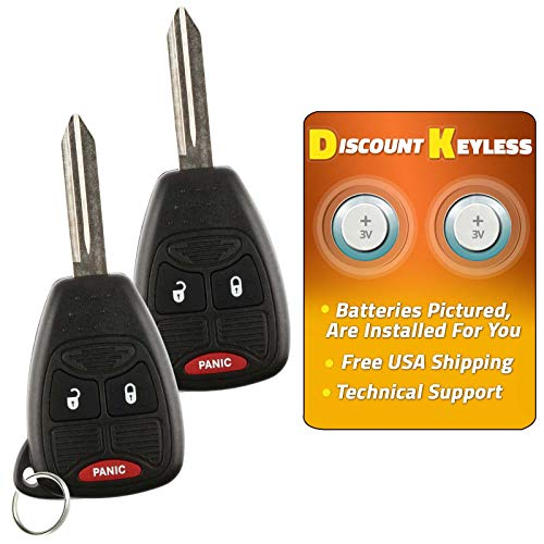 Chrysler Transponder Key - Discount Keyless Replacement Uncut Car Keyless Entry Remote Fob Key Compatible with OHT692713AA, OHT692427AA, KOBDT04A (2 Pack)