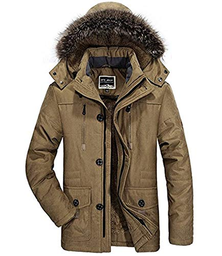 Jacket Winter Parka Winter Jacket Kapuzenparka Men's Mens Khaki Coat Coat Coat Winter Warmth Hooded Jacket Rompers Apparel 6PPwzqE