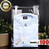 Strong Poly Clear Bags 100-Pack,Kinds size available 8x13,15x21 Apparel/Magazine/Toy/Gift Bags,Self Adhesive Strip (10''x14'')