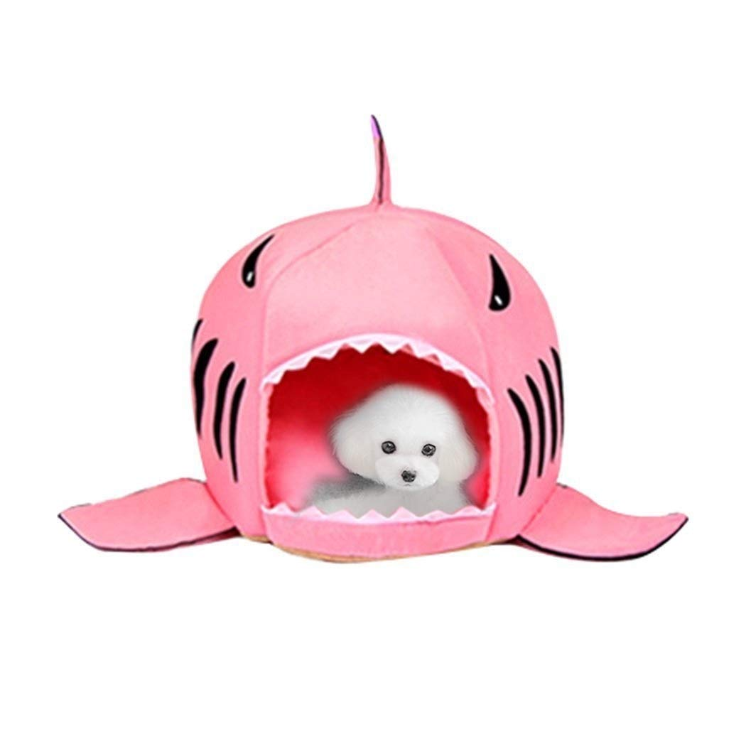 Pink Indoor Pet Dog Puppy Cat Warm House Sharks Pet Sleeping Bed Nest M Size  50x50x48cm (color   Pink)