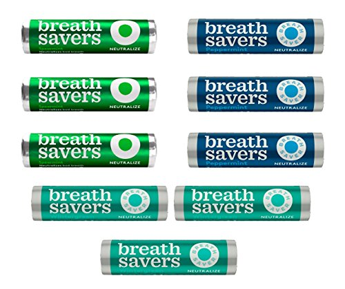 Breath Savers Neutralize Sugar Free Mints Variety Pack Featuring Spearmint, Peppermint & Wintergreen -9 Count