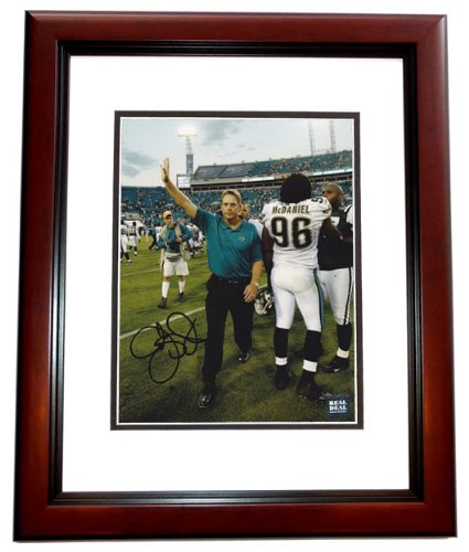 Jack Del Rio Signed - Jack Del Rio Signed - Autographed Jacksonville Jaguars 8x10 inch Photo MAHOGANY CUSTOM FRAME - Guaranteed to pass PSA or JSA