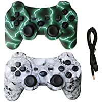 2 Pack Wireless Bluetooth Vibration Controller PS3,...