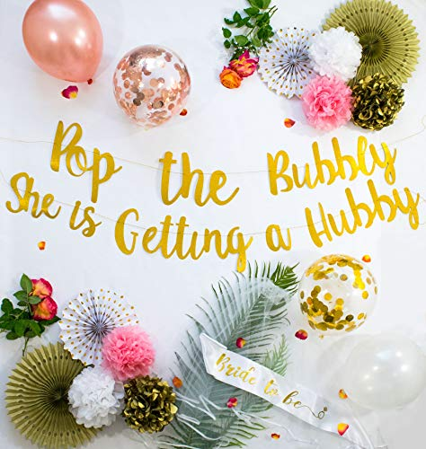 Bachelorette Party Decorations | Bridal Shower Supplies Rose Gold - Gold Glitter Banner, Sash, Veil, Balloons, Engagement Ring & Champagne Foil Balloon, Ribbon, Tissue Paper Pom Poms and Pinwheel Fans