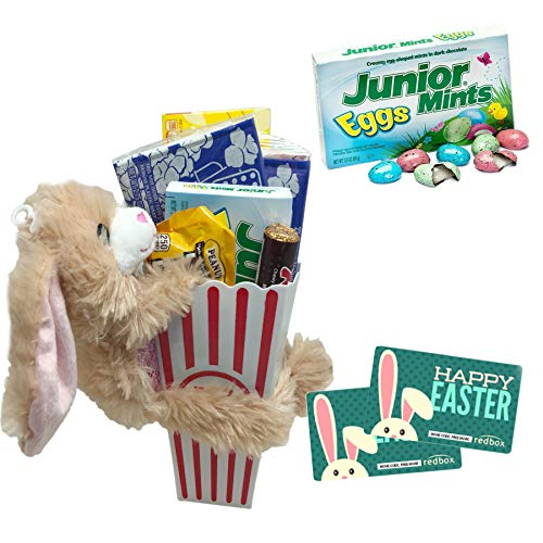 Happy Easter Movie Night Gift ~ Limited Edition Junior Mints Eggs ~ Movie Popcorn, Concession Stand Candy, and 2 Free Redbox Movie Rentals (Junior Mints Eggs & Bunny)