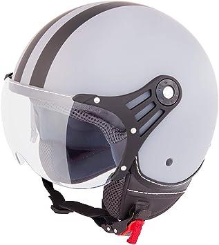 Vinz Fiori Roller Helm Jethelm Fashionhelm In Gr Xs Xl Jet Helm Mit Streifen Ece Zertifiziert Motorradhelm Mit Visier Grau Matt Schwarz Auto
