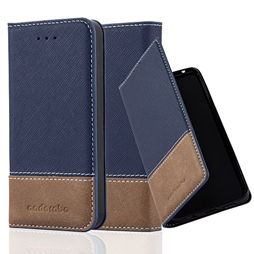 Cadorabo Book Case Works with Apple iPhone 5 / iPhone 5S / iPhone SE in Dark Blue Brown - with Magnetic Closure, Stand Function and Card Slot - Wallet Etui - Sleek Leather Brown Flap Wallet