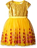 Disney by Tutu Couture Toddler Girls' Beauty and The Beast Belle Dress, Gold, 3T