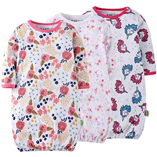 Unicorn Flowers Baby Girls Sleep Gown Cotton Soft Lightweight No-Scratch Mittens Sleeping Bag 60 Pink ()
