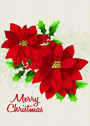 30 Pack Merry Christmas Holiday Greeting Cards, Poinsettias, Red, Beige, Green, 5