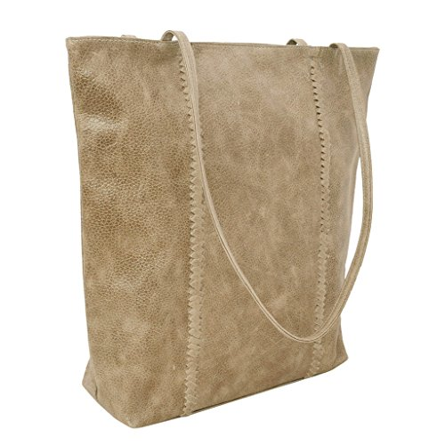 Latico Leathers Camden Tote Genuine Authentic Luxury Leather, Designer Made, Business Fashion and Casual Wear, Pebble Steel by Latico