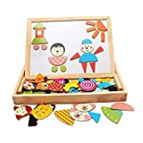 Magnetic Puzzle Wooden CharacterTravel Easel Dry Erase Chalkboard Toy for Kids Imagination by LiangTing