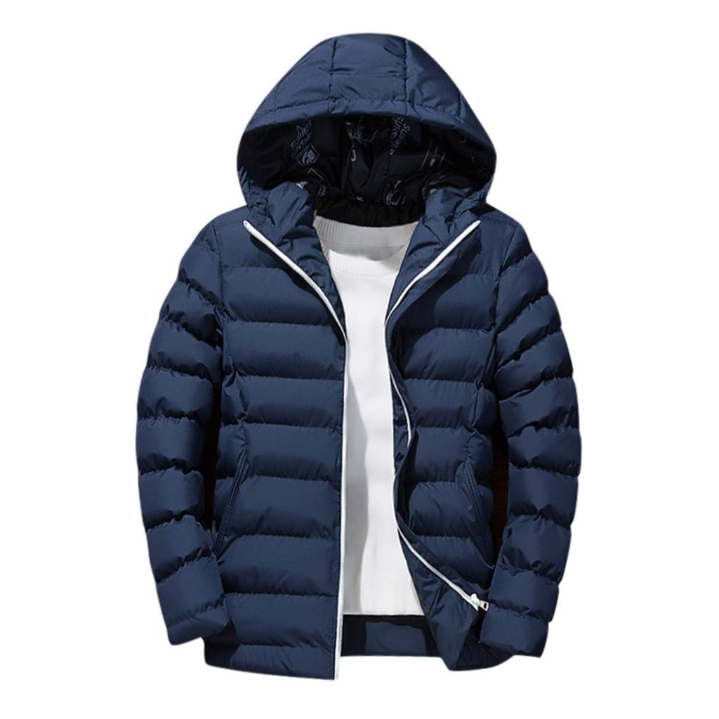 Allywit-Mens Down Packable Jackets Puffer Coat Detachable Hooded Thicken Warm Outwear Overcoat Sports Blue by Allywit-Mens
