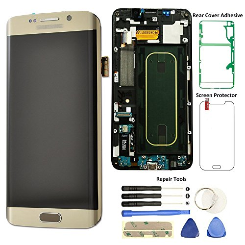 Display Touch Screen (AMOLED) Digitizer Assembly with Frame for Samsung Galaxy S6 Edge+ (Plus 5.7 inch) G928T (T-Mobile) (for Mobile Phone Repair Part Replacement) (Repair Tool Kits) (Gold Platinum) - Edge Mobile