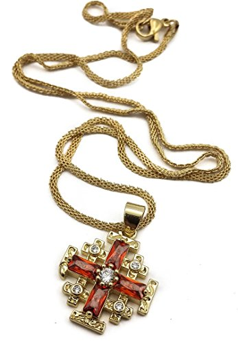 (Nazareth Store Gold Plated Silver Catholic Jerusalem Cross Pendant Red Garnet Crystal Stone Necklace)