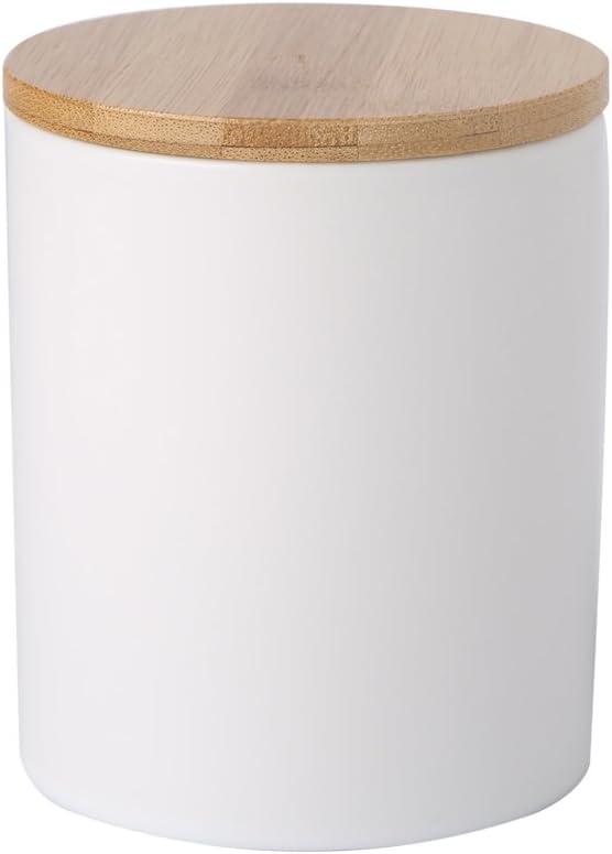 Ceramic canister storage jar tea jar container with bamboo lid (airtight) (Matt White, 8x10cm)