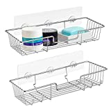 ARCCI Adhesive Shower Caddy Bathroom Shelf Organizer 304 Stainless Steel, Powerful Wall Mounted Kitchen Spice Rack, No Drilling Bathroom Accessories