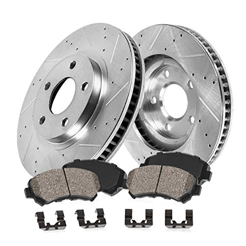 Callahan CDS03827 FRONT 311.8mm Drilled & Slotted 5 Lug [2] Rotors + Ceramic Brake Pads + Clips [ Audi A8 ] ()
