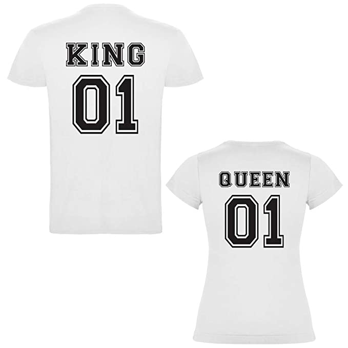 Pack de 2 Camisetas Blancas para Parejas, King 01 y Queen 01 Negro (Mujer