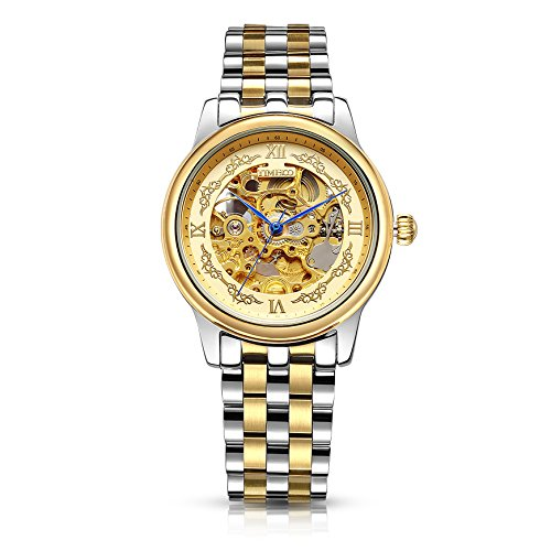 Time 100 Mens Business Wristwatch Skeleton Automatic Mechanical World Time Zones Watches Fashion Stainless Band for ()