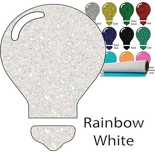 Color Theory Glitter Heat Transfer Vinyl (HTV) 20'' x 5yd Rainbow White by Greenstar
