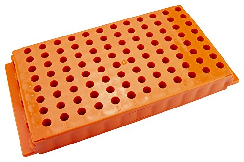 Caplugs Evergreen 240-6388-E30 Microcentrifuge Tube Rack. 96 Places, Reversible, Polypropylene, Orange (Rack E30)