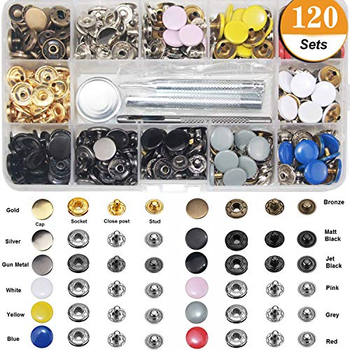 (Snap Fastener Kit 12 Colors, 120 Sets Metal Snap On Buttons Set for Thin Leather Bracelet, Shirt, Skirt, Jacket, Jeans, Bags Repair and Decoration - 12.5mm in Diameter…)