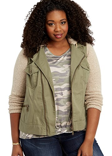 Maurices Women's Plus Size Cotton Jacket With Sweater Knit Sleeves And Hood 4 Olive Combo