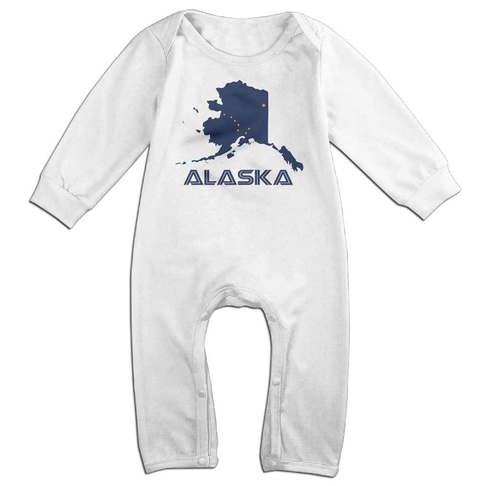 UGFGF-S3 Alaska Map Flag and Text Long Sleeve Newborn Baby Romper Jumpsuit Onsies for 6-24 Months Bodysuit