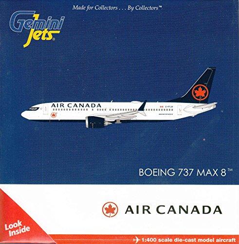 GeminiJets Air Canada B737 MAX 8 C-FTJV 1:400 Scale Diecast Model Airplane, White