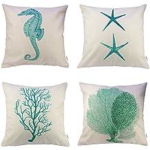 HIPPIH 4 Packs Cotton Linen Sofa Home Decor Design Throw Pillow Case Cushion Covers 18 X 18 Inch,1x Starfish + 1x Seahorse + 1x Coral + 1x Branch (Green)