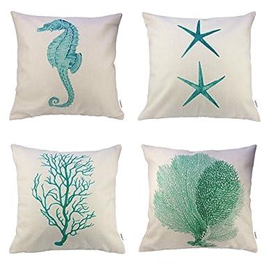 4 Packs Hippih Cotton Linen Sofa Home Decor Design Throw Pillow Case Cushion Covers 18 X 18 Inch ,1x Starfish + 1x Seahorse + 1x Coral + 1x Branch (Green)