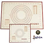 Non Stick Silicone Baking Mat 2 Pcs Set with Measurements, High Temperature Resistance Pastry Mat FDA Approved by Lasten 8 ECO-FRIENDLY MATERIAL: Lasten silicone cooking mat set use imported food-grade silicone and high- quality polyester fiber cloth, FDA approved, no chemical non toxic, these mats are totally safe for you & your family. FEATURES - The pastry mat with measurements adopted the high quality polyester fiber cloth with high temperature, low temperature resistance, corrosion resistance, strong adsorption ability, no cracking, soft feeling, good elasticity and no deformation. LONG LIFE USE - You can use the dough mat for more than 2000 times of baking repetition because the design of glass fiber reinforced inside the silicone cushion makes the kneading mat have a long service life.