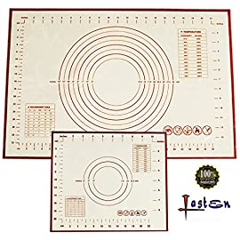Non Stick Silicone Baking Mat 2 Pcs Set with Measurements, High Temperature Resistance Pastry Mat FDA Approved by Lasten 113 ECO-FRIENDLY MATERIAL: Lasten silicone cooking mat set use imported food-grade silicone and high- quality polyester fiber cloth, FDA approved, no chemical non toxic, these mats are totally safe for you & your family. FEATURES - The pastry mat with measurements adopted the high quality polyester fiber cloth with high temperature, low temperature resistance, corrosion resistance, strong adsorption ability, no cracking, soft feeling, good elasticity and no deformation. LONG LIFE USE - You can use the dough mat for more than 2000 times of baking repetition because the design of glass fiber reinforced inside the silicone cushion makes the kneading mat have a long service life.