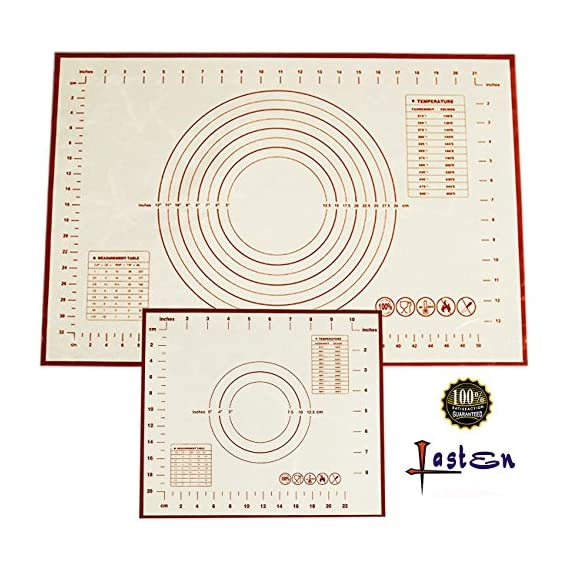 Non Stick Silicone Baking Mat 2 Pcs Set with Measurements, High Temperature Resistance Pastry Mat FDA Approved by Lasten 1 ECO-FRIENDLY MATERIAL: Lasten silicone cooking mat set use imported food-grade silicone and high- quality polyester fiber cloth, FDA approved, no chemical non toxic, these mats are totally safe for you & your family. FEATURES - The pastry mat with measurements adopted the high quality polyester fiber cloth with high temperature, low temperature resistance, corrosion resistance, strong adsorption ability, no cracking, soft feeling, good elasticity and no deformation. LONG LIFE USE - You can use the dough mat for more than 2000 times of baking repetition because the design of glass fiber reinforced inside the silicone cushion makes the kneading mat have a long service life.
