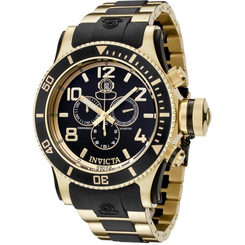 18k Gold Plated Case - Invicta Men's 6633 Russian Diver Collection Chronograph 18K Gold-Plated Black Rubber Watch