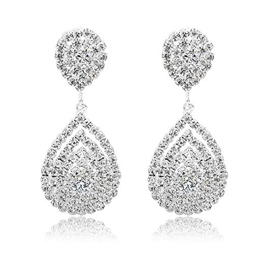 Long Way Bridal Wedding Jewelry Beautiful Dazzle Crystal Dangle Fashion 3D Earring Silver -