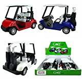 Liberty Imports 6 Pack Bundle: 4½'' Die-cast Metal Golf Cart Model Toy Vehicle (Red/White/Blue)